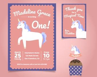Unicorn Invitation   Unicorn Birthday invitation  Unicorn Birthday Card   Unicorn birthday invitation card + Free Thank You Card