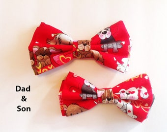 Bow Tie, Mens Bow Tie, Dad and Son Bow Tie, Dog Bow Ties, Matching Dog Bow Tie, Valentines Bow Tie, Dog Bowtie, Bowtie, Boys Bow Tie  DS751