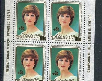 Lady Diana  Royal Wedding Souvenir Sheet /Unused Issued in Aitutaki Cook Islands