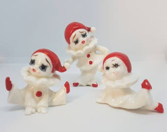 Set of Three Little Clown Pierrot Bone China Figures Ornaments Kitsch Vintage Cute