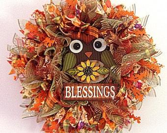 Fall Wreath, Front Door Wreath, Door Decor, Deco Mesh Wreath, Harvest Wreaths, Out Door Wreath, Fall Harvest Wreaths, Whimisical Wreath