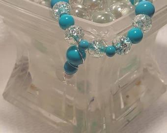 Aqua beaded bracelet.