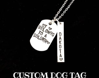 Custom Dog Tag Keychain or Necklace   Personalized   Hand Stamped Jewelry   Gifts For Him