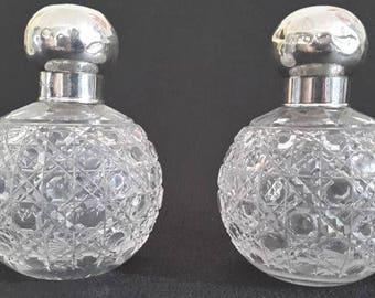 Antique Edwardian Hobnail Cut Glass Scent Perfume Bottles 1906 - PAIR