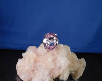 18.06 Ct. Oval Kunzite Sterling Silver Ring
