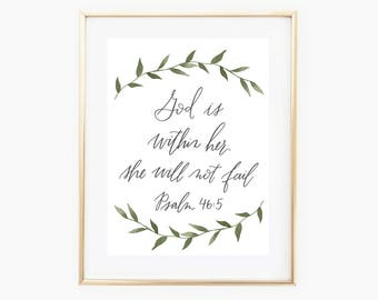 Psalm 46:5, Bible Verse Print, Watercolor, Hand lettering, Calligraphy, Printable Art