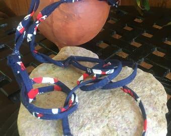 Fabric Necklace, Hand Sewn Jewelry, Bohemian  Necklace, Fabric Necklace, Fabric Statement Necklace
