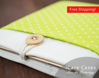 11 MacBook Air Case Green Polka Dot Stylish Apple Case Apple Mac Air 11 inch Case