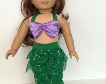 18 Inch Doll Clothes Green and Purple Mermaid Outfit With Sequences Fits Like American Girl Doll Clothes