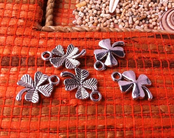 10 little clovers lucky 4 leaf silver metal, streaked and bombs