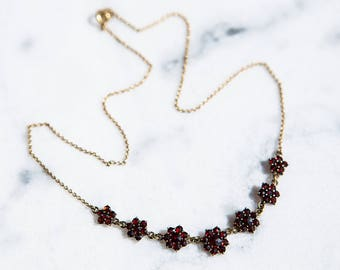 Antique Bohemian Garnet Necklace Victorian Style Heirloom