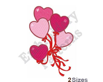 Heart Balloons - Machine Embroidery Design