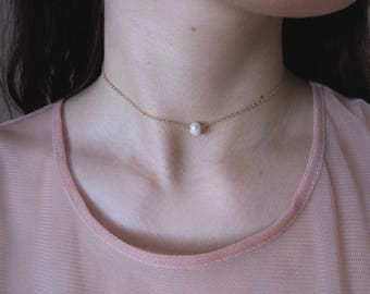 Pearl Necklace, Gold Necklace, 14k Gold Filled Necklace, Single Pearl Necklace, Minimal Necklace, Pearl Choker Necklace, Layering Necklace
