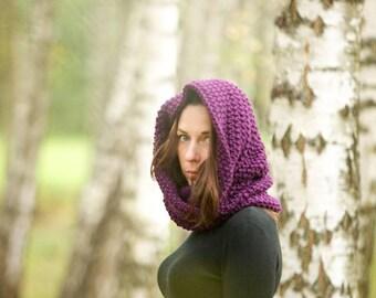 Wool scarf, handmade scarf, oversized scarf, knit scarf, warm scarf, chunky scarf, infinity scarf, knit cowl, hooded scarf, woman scarf