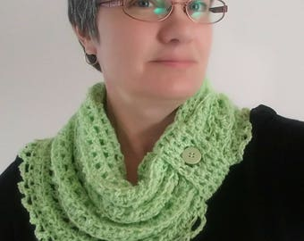 Crocheted Lace Cowl Infinity Scarf Asymetrical