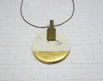 Color Blocked Clay Pendant Necklace - TheHiddenBin