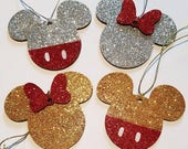 Set of 2 8cm Personalised Disney Mickey Mouse & Minnie Mouse Hand Decorated Gold  Silver Glitter Wooden Christmas Tree Decorations Ornament