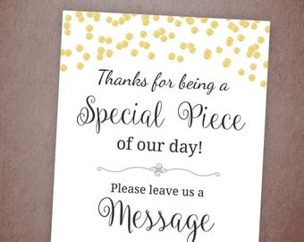 Please Leave a Message for the New Couple, Gold Confetti, Wedding Party Sign Printable, Write a Message, Guest Book, New Mr and Mrs, A001