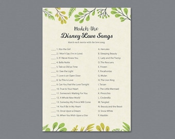 Green Match the Disney Love Songs Game Printable, Leaves Bridal Shower Games, Bachelorette Party, Wedding Shower, Romantic Quotes, A011