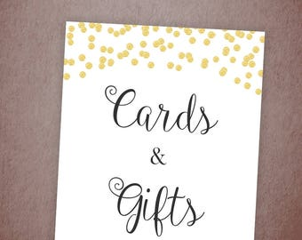 Cards and Gifts Sign, Printable Wedding Decorations, Gold Confetti Wedding Sign, Bridal Shower, Baby Shower, Gifts Calligraphy, A001