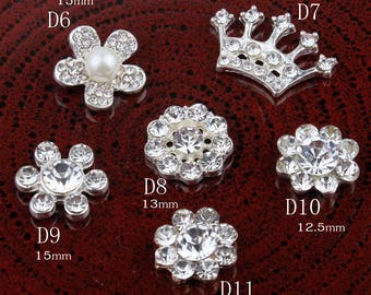 Vintage Crown/round/flower Metal Rhinestone Buttons Bling Alloy Crystal Flower Center Buttons for Hair accessories