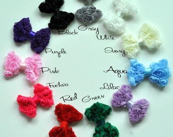 Soft Solid DIY Mesh Bow For Children Hair Accessories Mini Boutique Rose Lace Baby Bows For Hair Clips