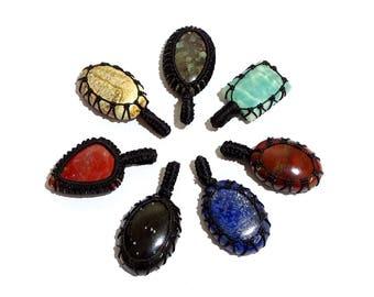 7 Piece Natural Stone Thread Pendent Gemstones, Thread Pendant Handmade Gemstone, jewelry Pendant | G3952