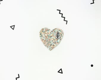 Brooch heart sequin Hand Made Swarovski Crystal