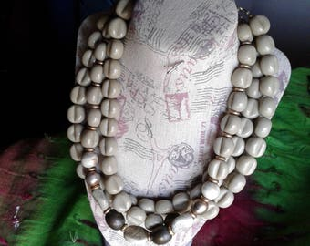 Chunky 3 Strand Neclace  Sage Green Bead Necklace