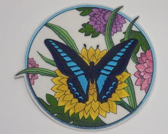Butterfly Iron-on Patch Embroidered Patch Sew-On Patch Common Bluebottle Circle patch