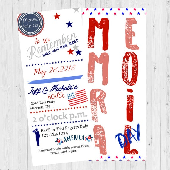 memorial day invite memorial day invitations 4th of july invite