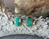 Oval X-Large Stud Royston Turquoise Nevada Stone Silver Tahoe Blue Patina Antiqued Rustic Simple Minimalist Statement Earring Set Handmade