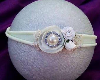 Tieback, Stretch headband, Newborn, Baby, white headband, Photo Props, Organic, Headband prop, Floral, Dried flower, white tieback, Rustic,