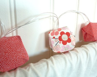 "String light led - white red pink coral origami cubes - Collection ""BoDuo"""