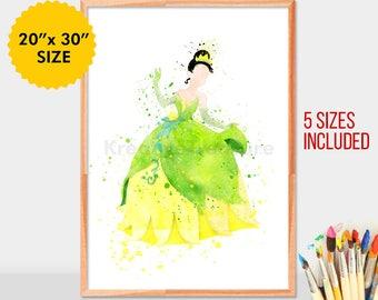 Disney Princess Tiana, Princess and the Frog, Disney Baby Girl Nursery Art, Watercolor Art, Wall Decor, Modern Baby Room Print, Womens Day