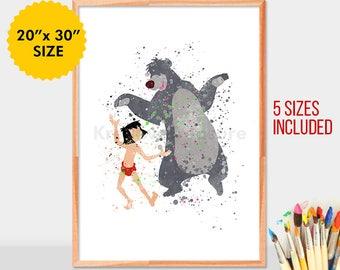Mowgli and Baloo, The jungle book, Mogli, Baloo, Watercolor print, Kids Room Decor, Poster,Print, Wall art, Home decor