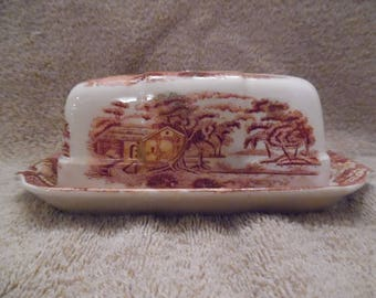 Nasco (Japan) Mountian Woodland, Covered Butter Dish