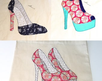 3 Shoe Patterns, Machine Embroidery designs that look like Free motion embroidery - Patterns by Pixie Willow Patterns