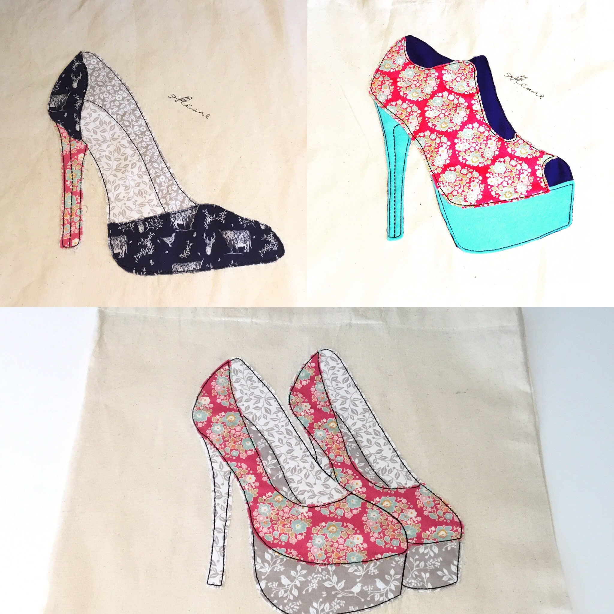 3 Shoe Patterns Machine Embroidery designs that look like