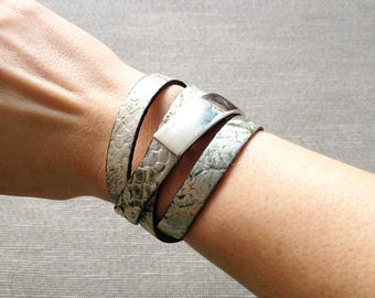 Wrap bracelet - leather wrap braclet with silver plated clasp - cuff bracelet - leather bracelet - nappa leather - reptile design