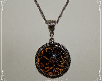 Necklace glass cabochon and silver antiqued, gold and black