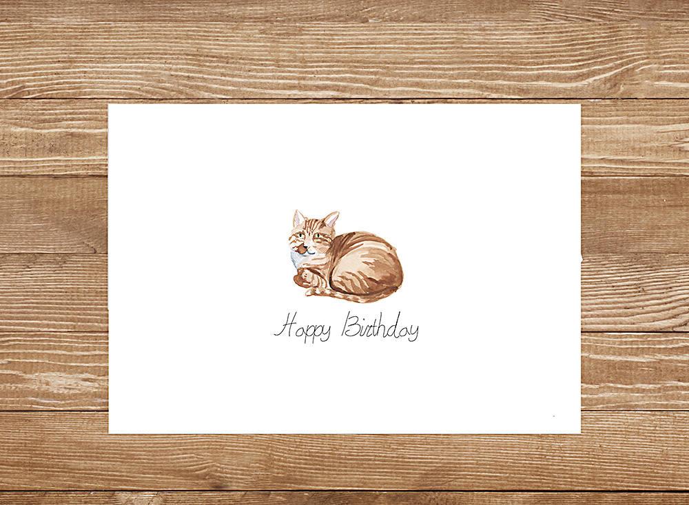 Cat Birthday Card Printable Instant Download Dog Birthday Card