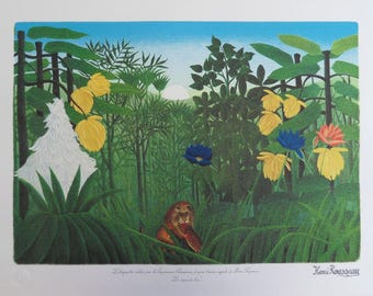 The customs officer ROUSSEAU (Henry): the Lion - original LITHOGRAPH #1976 meal