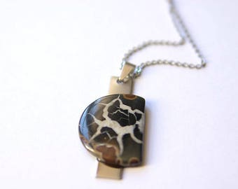 Septarian Pendant With 925 Sterling silver chain, Septarian Necklace, Septarian Gemstone, Septarian Jewelry, Septarian Cabochon