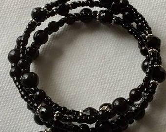 Black beaded memory bracelet