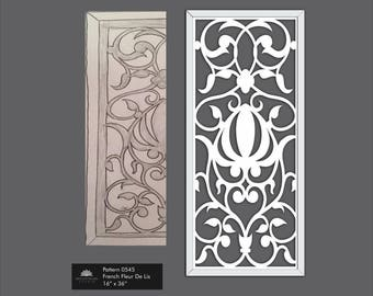 French Farmhouse Fleur De Lis Fretwork Art for decoration in Shabby Chic Distressed White  0543