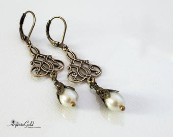 Art Deco Earrings, Ivory Pearl Earrings, Edwardian Earrings, Vintage Drop Earrings, Teardrop Pearls, Lever Back, Handmade UK, Downton Abbey