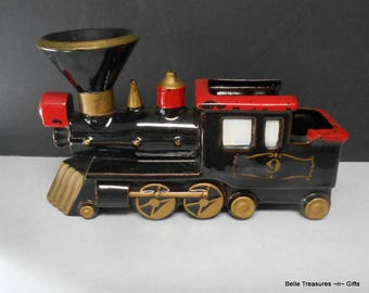 Antique Red Clay Ceramic Choo Choo Train Steam Engine Planter