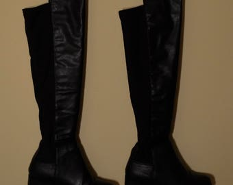 Vintage Style Black Leather Boots