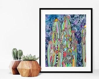 Watercolor Cactus Print/Cacti Wall Art/Colorful Desert Botanical Garden Print/Watercolor cactus art print/Southwest Art/Desert Painting